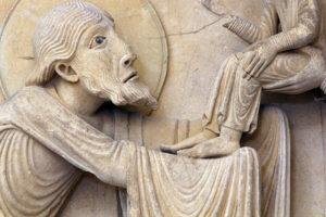 La Charité-sur-Loire, The Transfiguration Tympanum, Lintel, The Presentation in the Temple, Simeon