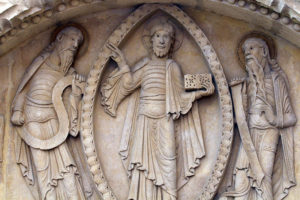 La Charité-sur-Loire, The Transfiguration Tympanum, Christ and the Prophets Moses and Elijah, Notre-Dame de la Charité-sur-Loire