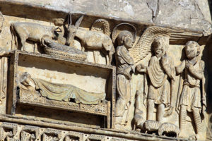 La Charité-sur-Loire, Tympanum of the Virgin, Nativity and Annunciation to the Shepherds