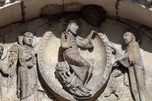 La Charité-sur-Loire, Tympanum of the Virgin, Christ, Virgin Mary and Archangel Michael