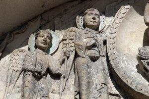 La Charité-sur-Loire, Tympanum of the Virgin, Archangels Michael and Gabriel