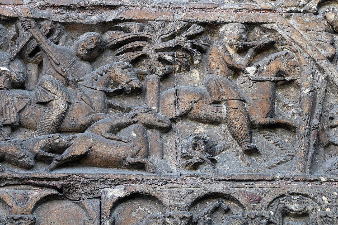Porch Relief Tympanum Saint Ursin de Bourges Huntsman