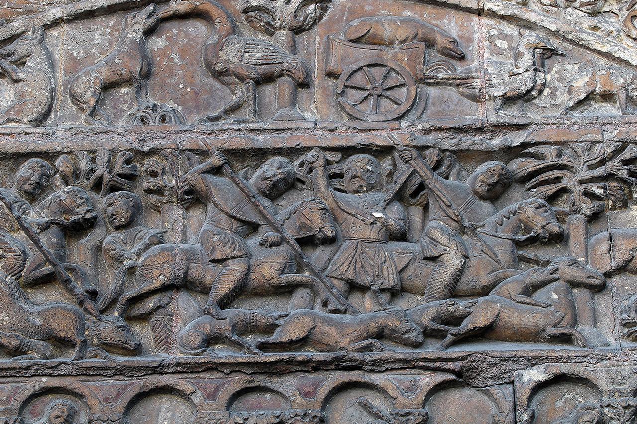 Porch Relief Tympanum Saint Ursin de Bourges Hunt Scene
