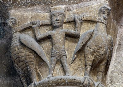 Conques Sainte Foy, Man and Two Harnessed Birds