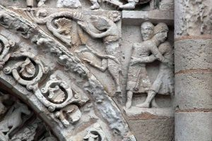 Poitiers Notre-Dame-la-Grande Jacob Wrestles and Angel