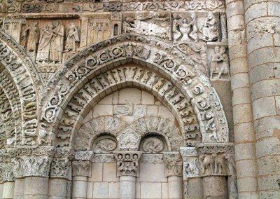 Poitiers Notre-Dame-la-Grande Ground Level Blind Arcade and Nativity Frieze