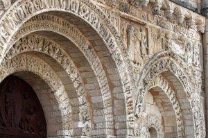 Poitiers Notre-Dame-la-Grande Ground Level Main Entrance Arch Voussoirs and Nativity Frieze